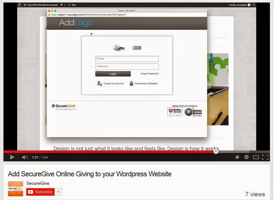 Add SecureGive Online Giving to your WordPress Website